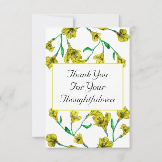 Bold Yellow Clematis Watercolor Floral Wedding Thank You Card