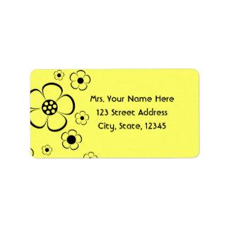 Bold Yellow Flowers Address Lables Address Label