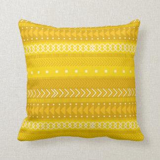 Bold Yellow & Gold Tribal Throw Pillow