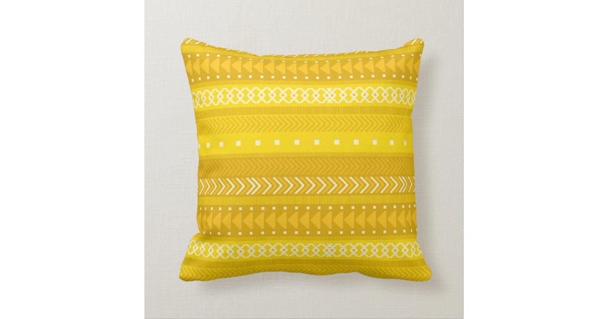 Bold Yellow & Gold Tribal Throw Pillow Zazzle