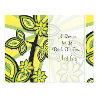 Bold Yellow Green Floral Recipe Card for the Bride Postcard