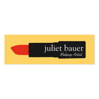 Bold Yellow Makeup Artist Lipstick Logo Beauty Double-Sided Mini Business Cards (Pack Of 20)