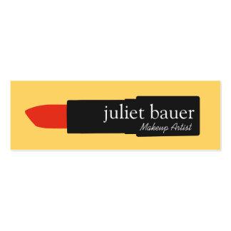 Bold Yellow Makeup Artist Lipstick Logo Beauty Mini Business Card