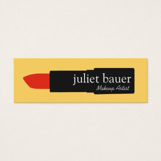 Bold Yellow Makeup Artist Lipstick Logo Beauty Mini Business Card