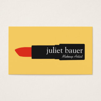 Bold Yellow Modern Makeup Artist Lipstick Beauty Business Card