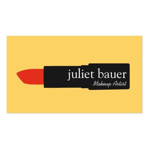 Bold Yellow Modern Makeup Artist Lipstick Beauty Double-sided Standard Business Cards (pack Of 100)