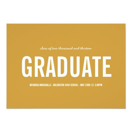 "Bold Yellow Photo Graduation Announcements 5"" X 7"" Invitation Card"