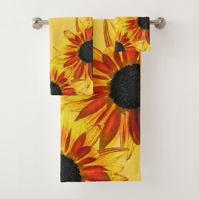 Bold Yellow Red Sunflower Floral Garden Towel Set