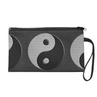 Bold Yin Yang in Carbon Fiber Print Style Wristlet Purse