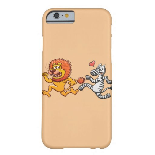 Bold zebra madly in love running after scared lion barely there iPhone 6 case