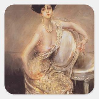 Boldini-Retrato de Juan de Rita de Acosta Lydig Pegatinas Cuadradases