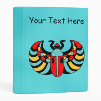 Boldly Colored Abstract Scarab Beetle on Aqua Blue Mini Binder