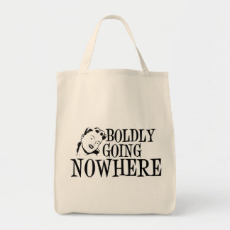 Boldly Going NOWHERE Retro Lady B&W Tote Bag
