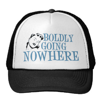 Boldly Going NOWHERE Retro Lady Blue Trucker Hat