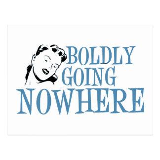 Boldly Going NOWHERE Retro Lady Blue Postcard
