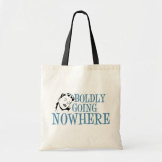 Boldly Going NOWHERE Retro Lady Blue Tote Bag