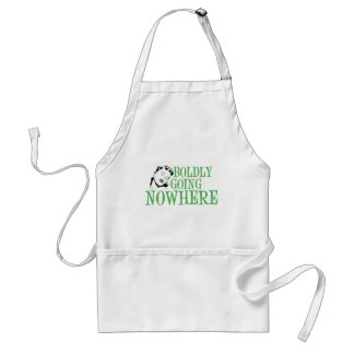 Boldly Going NOWHERE Retro Lady Green Adult Apron