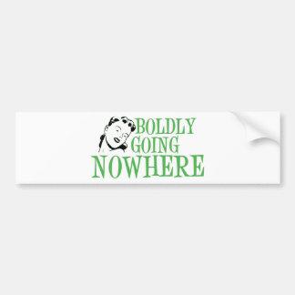 Boldly Going NOWHERE Retro Lady Green Bumper Sticker