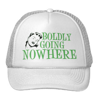 Boldly Going NOWHERE Retro Lady Green Trucker Hat
