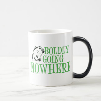Boldly Going NOWHERE Retro Lady Green Mugs