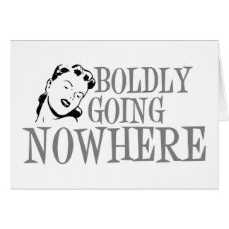 Boldly Going NOWHERE Retro Lady Grey Card