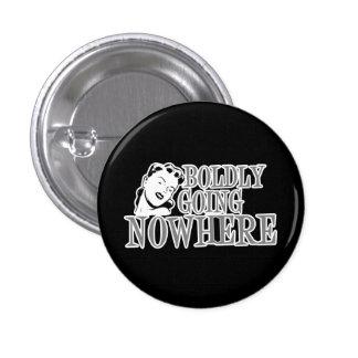 Boldly Going NOWHERE Retro Lady Grey Pinback Button