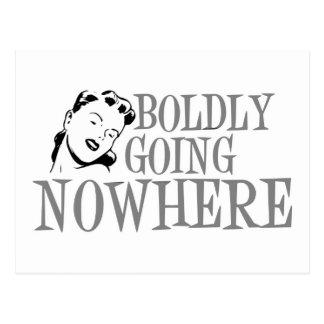 Boldly Going NOWHERE Retro Lady Grey Postcard