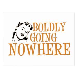 Boldly Going NOWHERE Retro Lady Orange Postcard