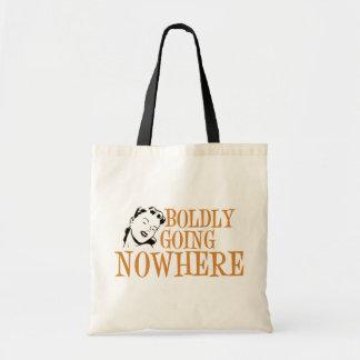 Boldly Going NOWHERE Retro Lady Orange Tote Bag
