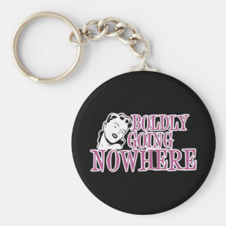 Boldly Going NOWHERE Retro Lady Pink Keychain