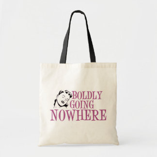 Boldly Going NOWHERE Retro Lady Pink Tote Bag