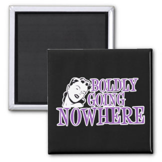 Boldly Going NOWHERE Retro Lady Purple Magnet