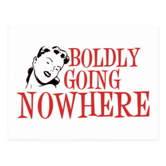Boldly Going NOWHERE Retro Lady Red Postcard