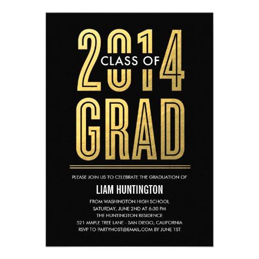 Boldly Proud Graduation Invitation - Black