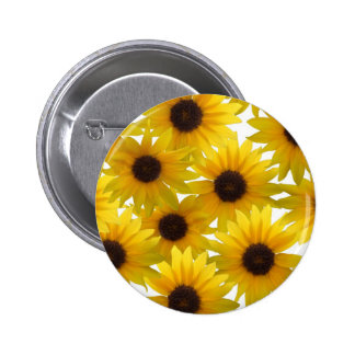 Boldly Sunny Sunflowers Pinback Button