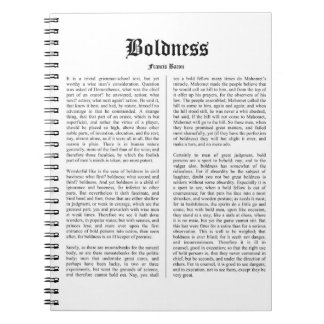 BOLDNESS by Sir Francis Bacon Notebook