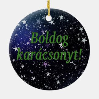 Boldog karácsonyt! Merry Christmas in Hungarian gf Double-Sided Ceramic Round Christmas Ornament