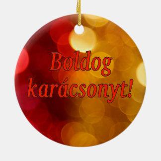Boldog karácsonyt! Merry Christmas in Hungarian rf Double-Sided Ceramic Round Christmas Ornament