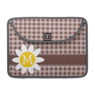 Bole Brown Gingham; Checkered; Daisy MacBook Pro Sleeve