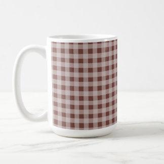 Bole Brown Gingham; Checkered Classic White Coffee Mug