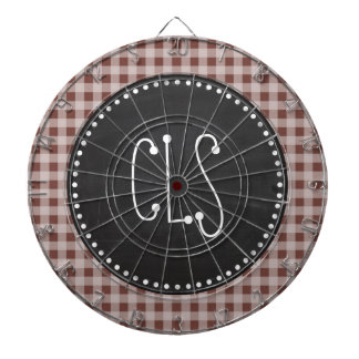 Bole Brown Gingham; Checkered; Retro Chalkboard Dart Board