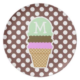 Bole Brown Polka Dots; Ice Cream Dinner Plate