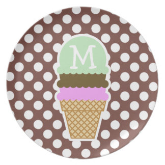 Bole Brown Polka Dots; Ice Cream Party Plates