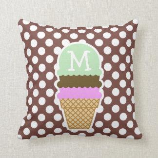 Bole Brown Polka Dots; Ice Cream Throw Pillow