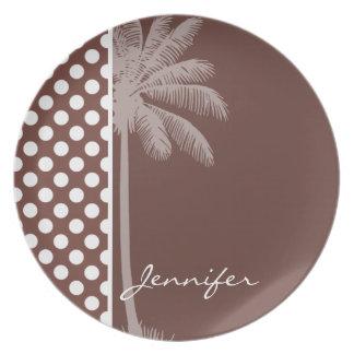 Bole Brown Polka Dots; Tropical Palm Dinner Plate
