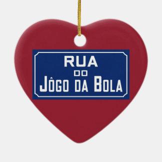 Boleadoras de Rua Jogo DA, placa de calle, Río de Adorno Navideño De Cerámica En Forma De Corazón