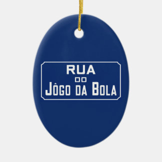 Boleadoras de Rua Jogo DA, placa de calle, Río de Adorno Navideño Ovalado De Cerámica