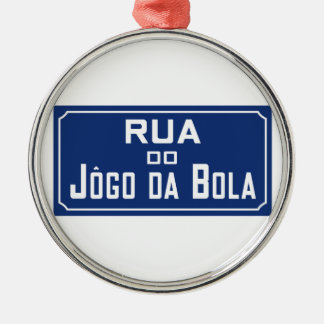 Boleadoras de Rua Jogo DA, placa de calle, Río de Adorno Navideño Redondo De Metal