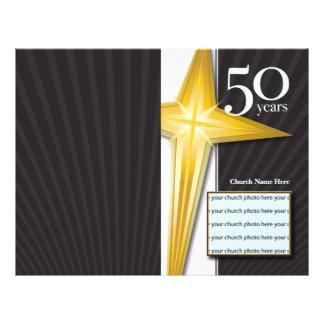 Boletín del aniversario de la iglesia de 50 años tarjetas informativas