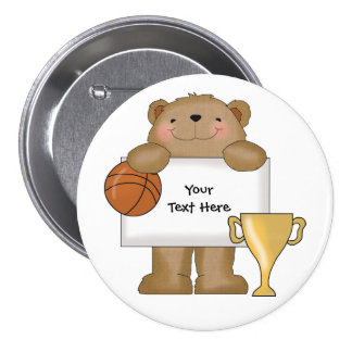 Boletín del oso del baloncesto (personalizable) pin